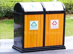 成都户外钢木分类垃圾桶T-18021