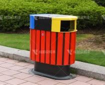 成都户外钢木分类垃圾桶T-18026