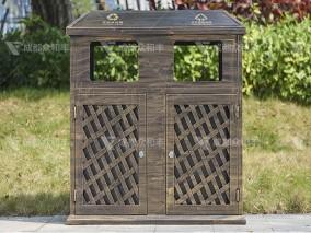 成都户外镀锌板分类垃圾桶T-18177