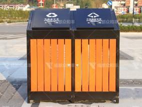 成都户外环卫钢木垃圾桶T-18179