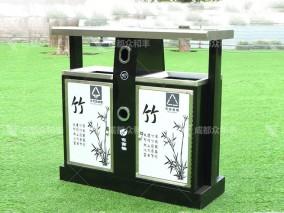 成都室外镀锌板分类垃圾桶T-18022