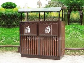 成都户外环卫钢木垃圾桶T-18023